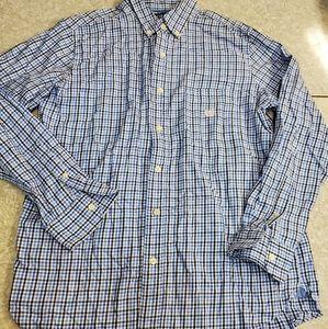 🤴👔   Chaps Men's M Blue Plaid Dress Shirt